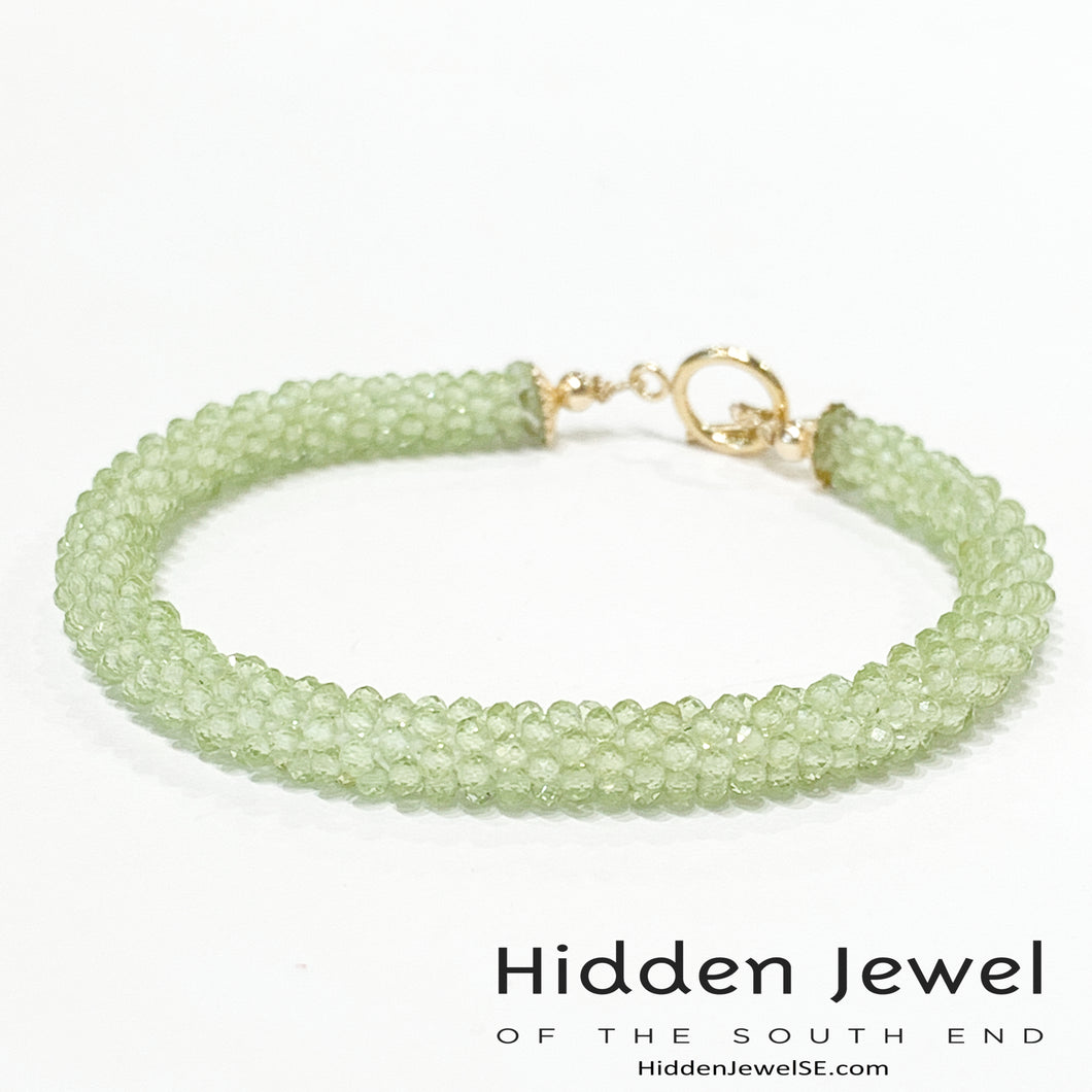 Peridot Gemstone Crocheted Bracelet, beaded Bracelet, Gemstone Bracelet, Jewelry, gemstone bracelet, green bracelet, roll over
