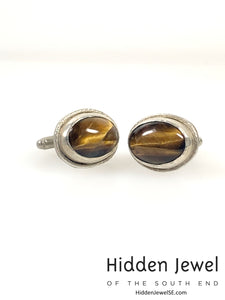 Tiger Eye Cuff Links Jasper Cufflinks Brown Cufflinks - Sterling Silver - Wedding Cufflinks)