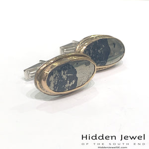 Genuine Apache Gold, Stone Cuff links, sterling silver cuff link, gold cuff links, gemstone cuff links, gift for him, black and gold (CL17)