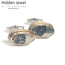Load image into Gallery viewer, Genuine Apache Gold, Stone Cuff links, sterling silver cuff link, gold cuff links, gemstone cuff links, gift for him, black and gold (CL17)