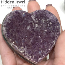 Load image into Gallery viewer, Amethyst Healing Stone Hearts (Larger Size)-  druzy hearts from Uruguay