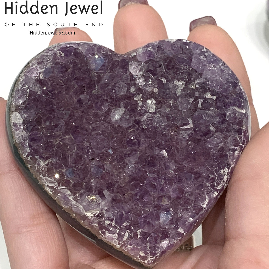 Amethyst Healing Stone Hearts (Larger Size)-  druzy hearts from Uruguay