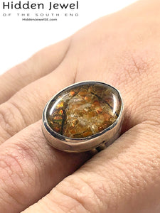 Custom Made prehistoric Ammolite Ring,  Sterling Silver