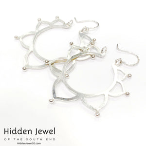 Sterling silver mandala flower hoops