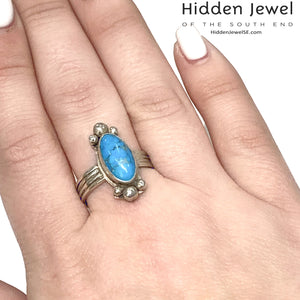 Oval Turquoise Ring, Sterling Silver, Bezel Set, oval size7 December Birthstone