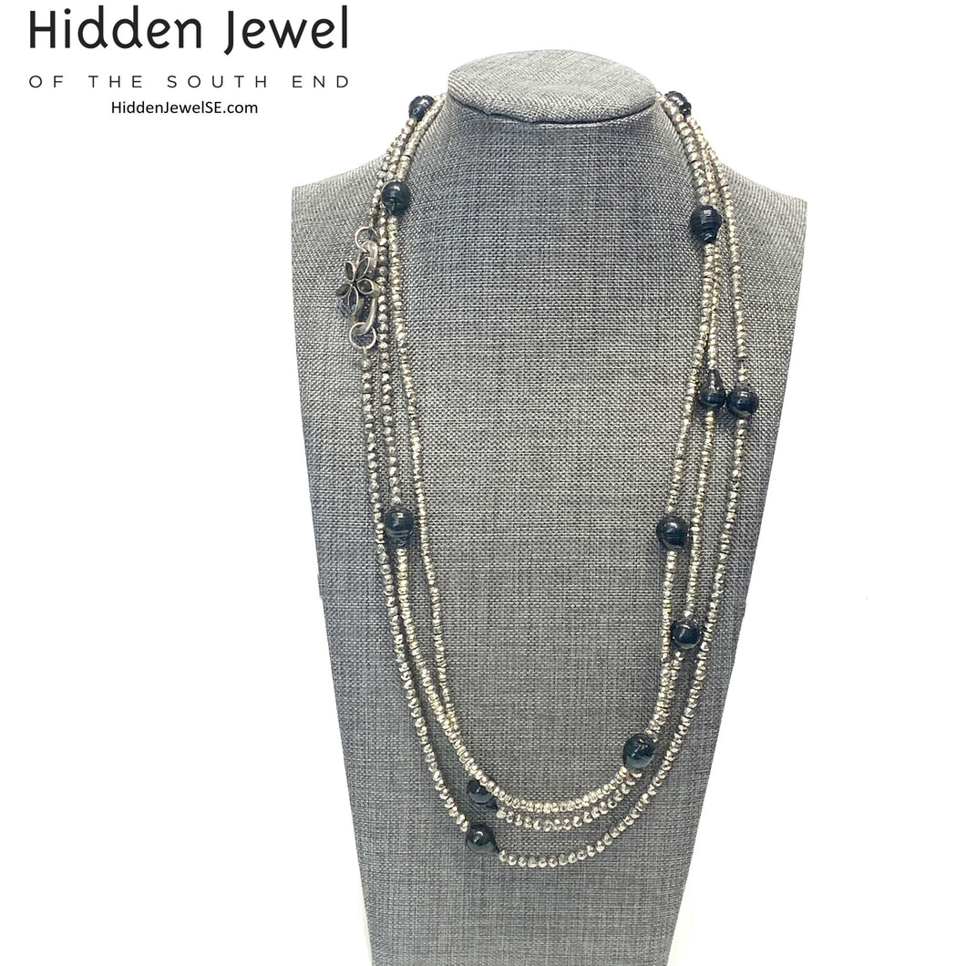 Freshwater Pearl and Silver Pyrite Extra Long Multi Wrap Necklace