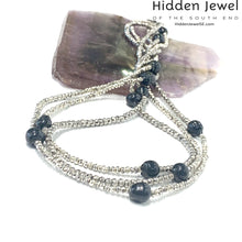 Load image into Gallery viewer, Freshwater Pearl and Silver Pyrite Extra Long Multi Wrap Necklace