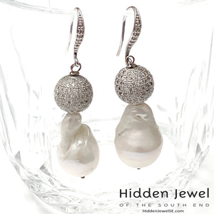 Baroque FW Pearl with Pave silver bead earrings, White Baroque Pearls