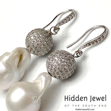 Load image into Gallery viewer, Baroque FW Pearl with Pave silver bead earrings, White Baroque Pearls