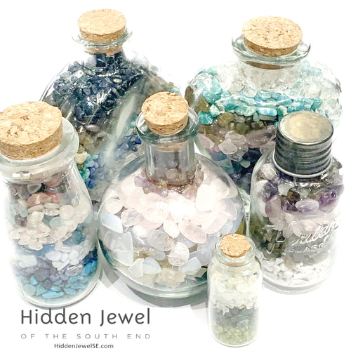 Gemstone crystal chip glass bottle, Stone Bottle Set ,meditation, gift