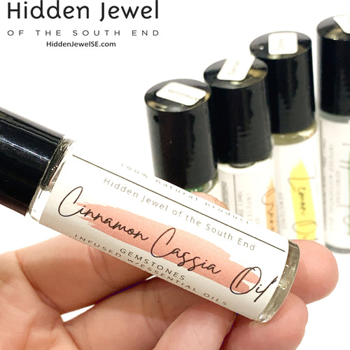 Cinnamon Cassia Essential Oil Roller Bottle with Gemstone Crystals
