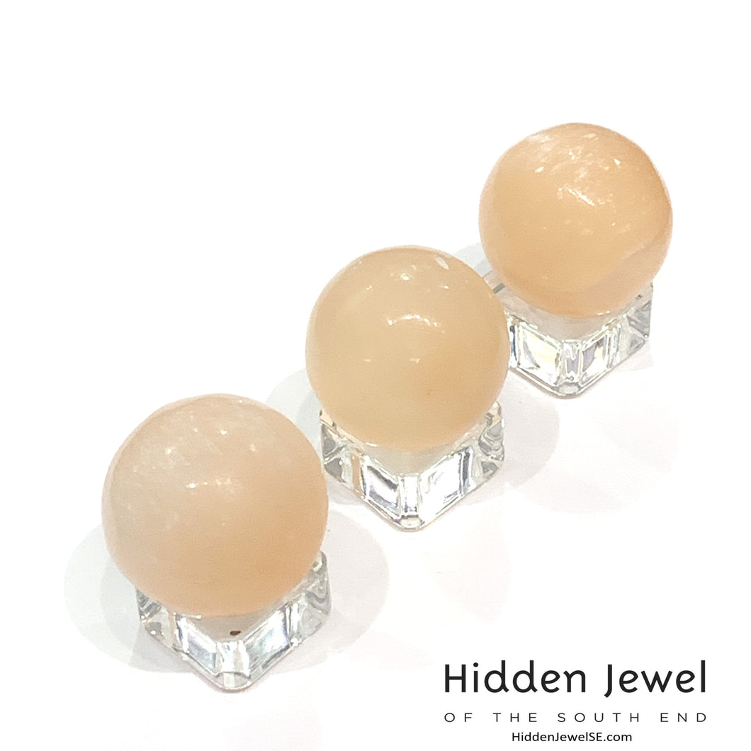 Selenite spheres and points healing stones
