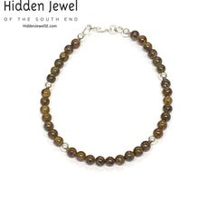 Load image into Gallery viewer, Genuine Bronzite gemstone & faceted sterling silver stack-able Bracelet sz 7 .5''