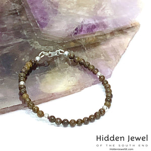 Genuine Bronzite gemstone & faceted sterling silver stack-able Bracelet sz 7 .5''