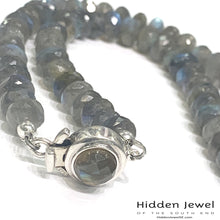 Load image into Gallery viewer, Labradorite necklace with Labradorite box clasp, sterling silver, beaded necklace, gemstone necklace, jewelry, Labradorite, necklace