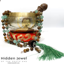 Load image into Gallery viewer, Mala Necklace, Green Aventine, African Opal, Pyrite, Carved Wood