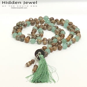 Mala Necklace, Green Aventine, African Opal, Pyrite, Carved Wood