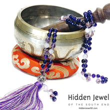 Load image into Gallery viewer, Amethyst  Super Seven Mala with Purple Jade, yoga necklace