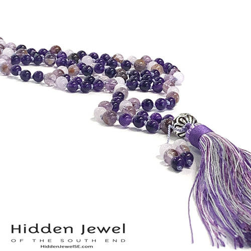 Amethyst  Super Seven Mala with Purple Jade, yoga necklace