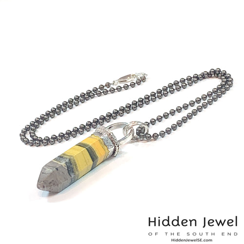 Bumble Bee Jasper Point silver necklace