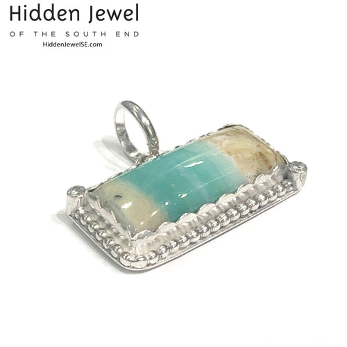 Opalized Petrified Wood (Beachside Blue Opal) rectangle shaped pendant with CZ accents, gift for her, gemstone pendant, opal pendant (P10)