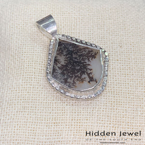 Dendritic Agate pendant with sterling silver, tree of life cute out, gemstone pendant, agate pendant, unisex pendant, sterling silver (P11)