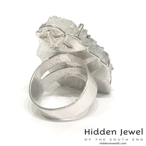 Sterling Silver prong set stalactite ring