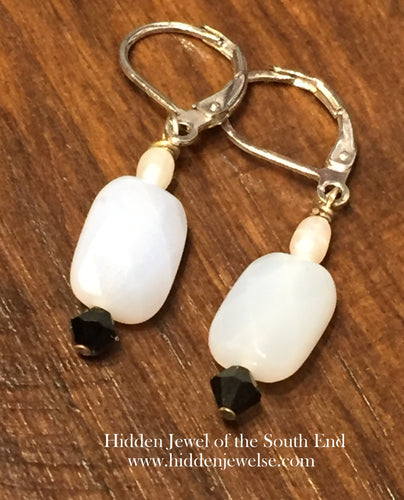 Pearl, Chalcedony, and Crystal Earrings, white and black earrings