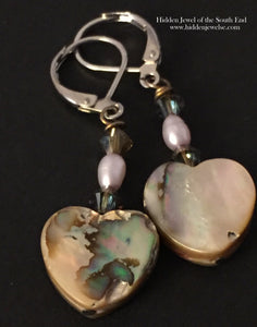 Mother of Pearl Heart Shaped Earrings, pearl earrings, heart earrings