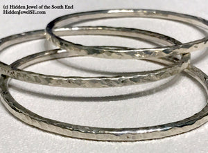 3mm Sterling Silver Bangles, Set of 3 heavy Gauge Hand Forged size 7.25