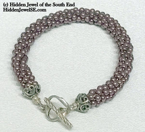 Crocheted Purple Swarovski Pearl Bangle