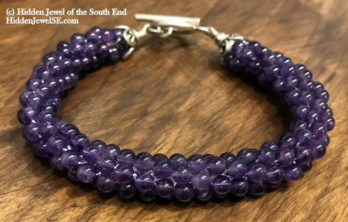 Amethyst Gemstone crocheted bracelet with sterling silver clasp