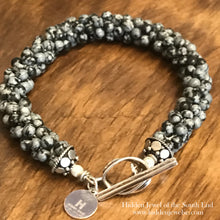 Load image into Gallery viewer, Snowflake Jasper Crocheted Bracelet with sterling clasp