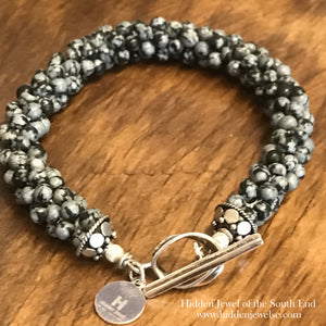 Snowflake Jasper Crocheted Bracelet with sterling clasp