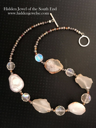 Agate and Crystal Single Strand 5 Gemstone necklace