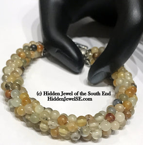 Yellow Agate Natural Gemstone Crocheted Bracelet, Agate beaded bracelet