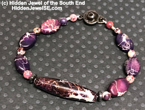 Purple imperial jasper gemstone single strand purple bracelet with snap closure size 6''