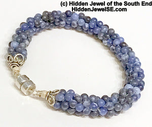 Sodalite Crocheted Bracelet, blue natural stone bracelet