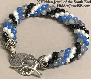 Spiraled Gemstone bracelet - Blue Glass, Faceted Onyx,  Rutilated Quartz and Fresh Water Pearl