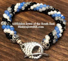 Load image into Gallery viewer, Spiraled Gemstone bracelet - Blue Glass, Faceted Onyx,  Rutilated Quartz and Fresh Water Pearl