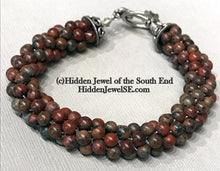 Load image into Gallery viewer, Red Jasper crocheted bracelet, stackable bangle