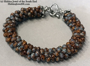 Brown Ceramic Crocheted Bracelet, ceramic beads, brown with blue