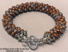 Load image into Gallery viewer, Brown Ceramic Crocheted Bracelet, ceramic beads, brown with blue