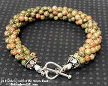 Load image into Gallery viewer, Unakite Agate Crocheted Bracelet, Green with hint of pink gemstone bracelet