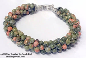 Unakite Agate Crocheted Bracelet, Green with hint of pink gemstone bracelet