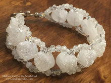Load image into Gallery viewer, White Druzzy and Genuine Moonstone Cross Weave Bracelet, white bracelet