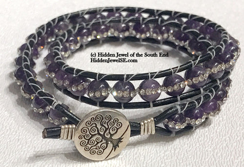 Amethyst with Pave Crystal Leather Wrap Gemstone Bracelet