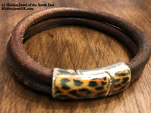 Load image into Gallery viewer, Brown Distressed Leather Bracelet with Cheetah patterned clasp