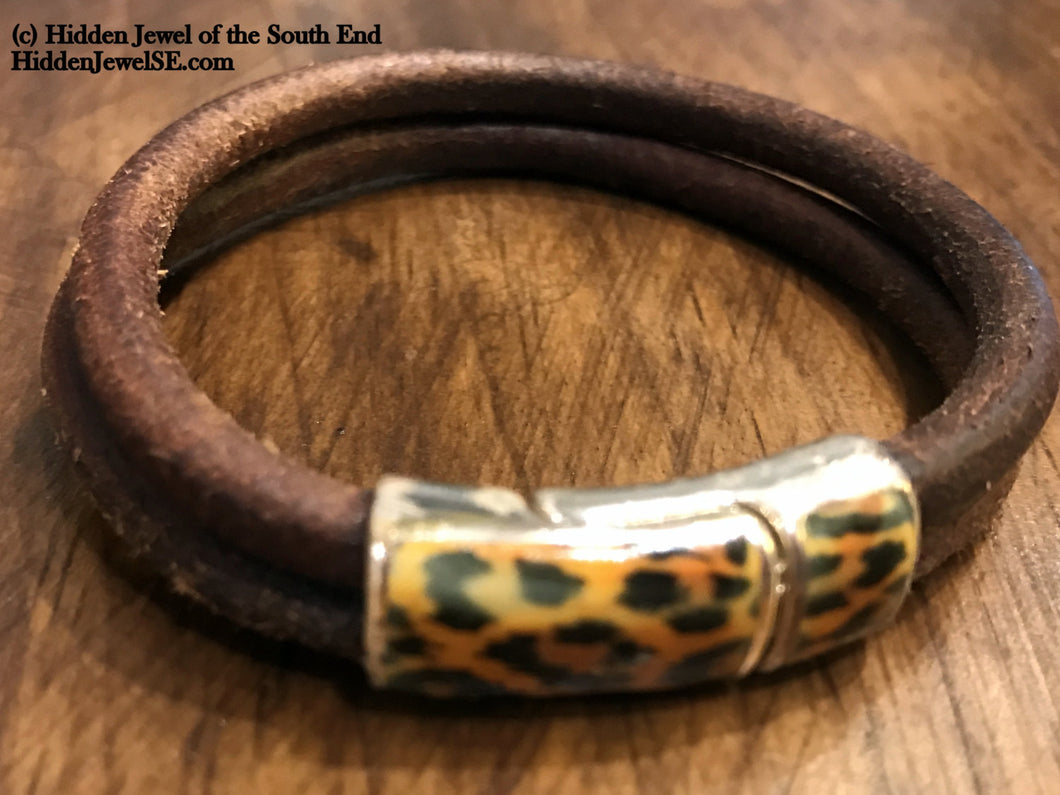 Brown Distressed Leather Bracelet with Cheetah patterned clasp