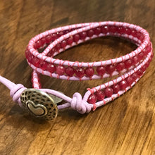 Load image into Gallery viewer, Genuine Pink Quartz (Crystalline Rose Quartz) Leather Wrap bangle